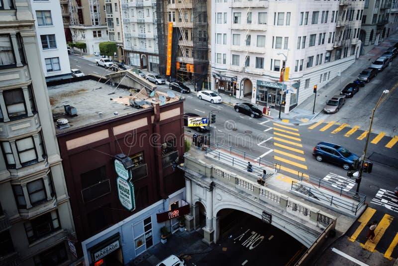 Άποψη της σήραγγας οδών Stockton, στο Σαν Φρανσίσκο, Καλιφόρνια στοκ φωτογραφία με δικαίωμα ελεύθερης χρήσης