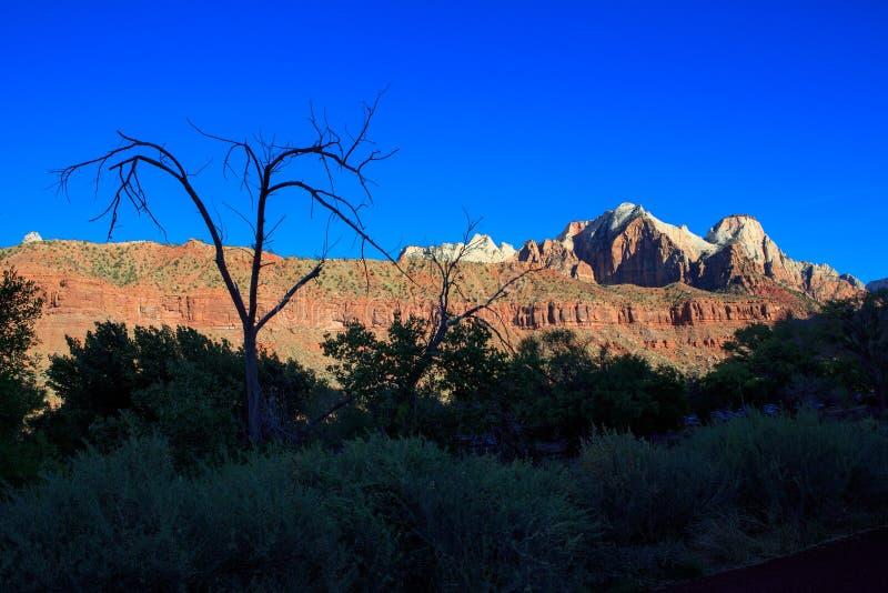 Άποψη της σειράς βουνών στο εθνικό πάρκο Zion που βρίσκεται στοκ φωτογραφίες