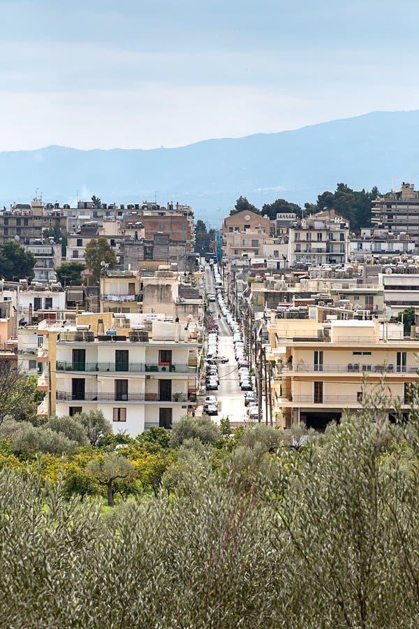 Άποψη της σύγχρονης πόλης της Σπάρτης, Ελλάδα, Ευρώπη στοκ φωτογραφίες με δικαίωμα ελεύθερης χρήσης