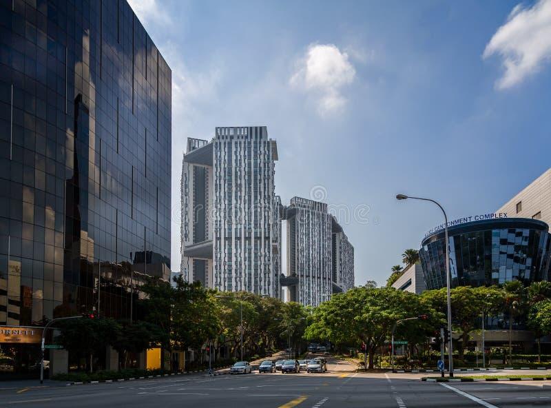 Άποψη της υψηλής ανόδου Duxton πυραμίδας που στεγάζει σύνθετο, ένα κτήριο ορόσημων, στο δρόμο επισταθμιών, Σιγκαπούρη στοκ εικόνες με δικαίωμα ελεύθερης χρήσης