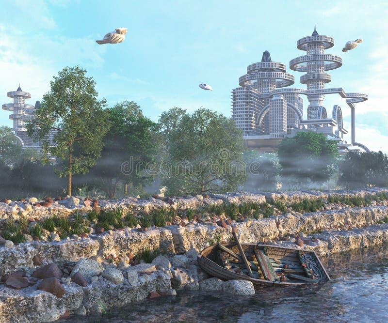 άποψη της φουτουριστικής πόλης με την παλαιά και σύγχρονη έννοια διαστημοπλοίων πετάγματος στοκ εικόνες