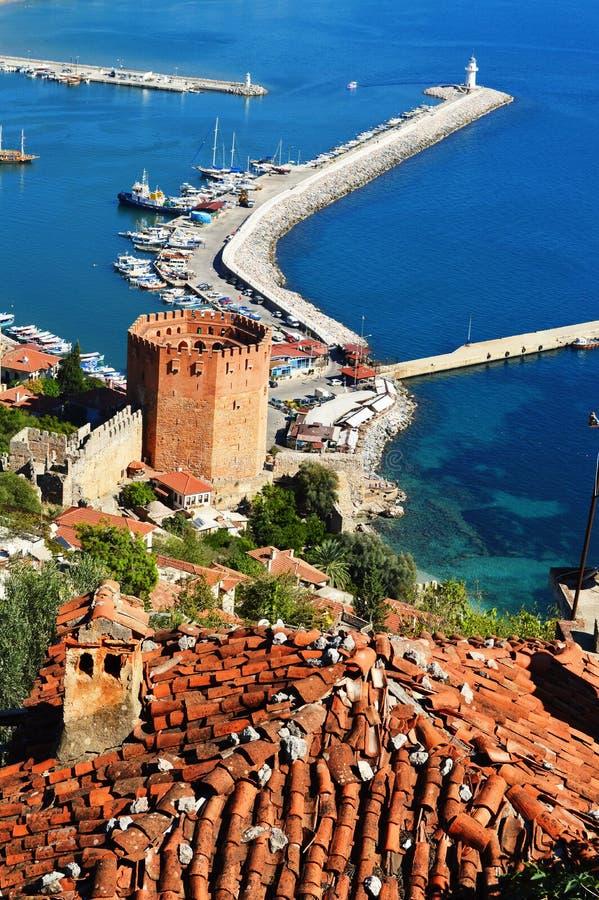 Άποψη της χερσονήσου Alanya λιμενικής μορφής Alanya. Τουρκικό Riviera στοκ φωτογραφίες