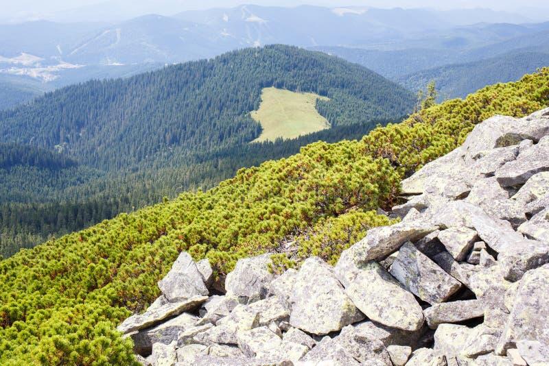 Άποψη τοπίων βουνών με τη δύσκολη αιχμή στοκ εικόνα με δικαίωμα ελεύθερης χρήσης