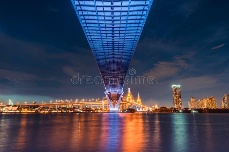 Άποψη τοπίων ηλιοβασιλέματος από κάτω από τη γέφυρα εθνικών οδών Μεταφορά, πολιτικού μηχανικού έργα αρχιτεκτόνων, ή έννοια Οικοδο στοκ εικόνες