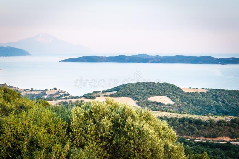 Άποψη τοπίων στο Athos στοκ εικόνες