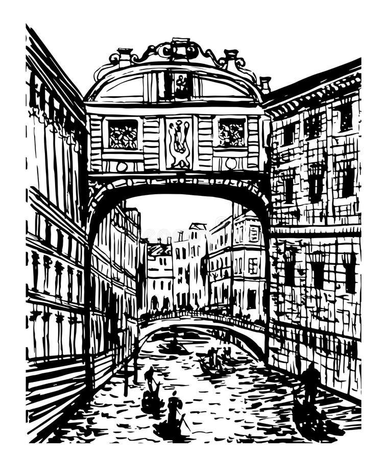 Άποψη τοπίων σχεδίων της γέφυρας των στεναγμών στη Βενετία, Ιταλία, σκίτσο της hand-drawn γραφικής απεικόνισης διανυσματική απεικόνιση