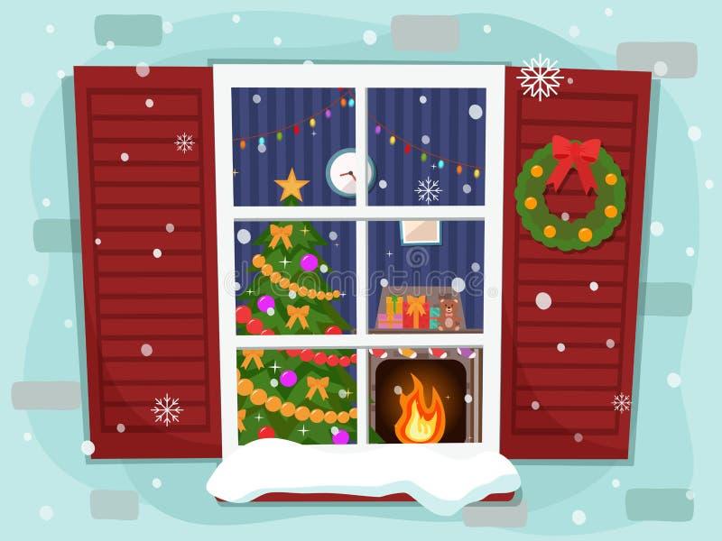 Άποψη του άνετου καθιστικού Χριστουγέννων με ένα δέντρο και μια εστία διανυσματική απεικόνιση