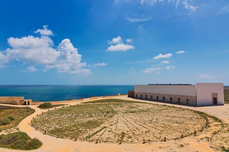 Άποψη του εσωτερικού στο φρούριο Ponta de Sagres, Πορτογαλία στοκ εικόνα