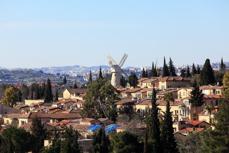 Άποψη του διάσημου ανεμόμυλου, Ιερουσαλήμ στοκ εικόνα