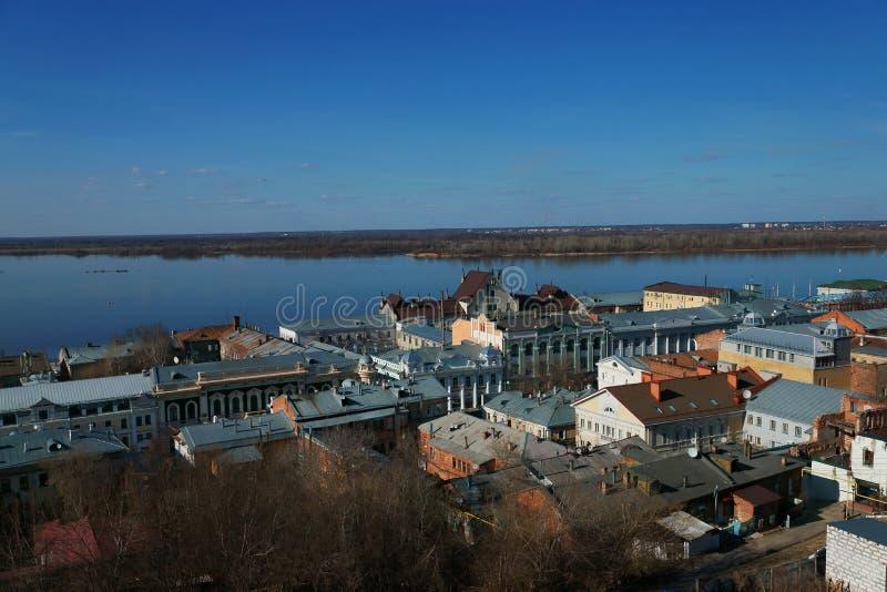 Άποψη του ιστορικού μέρους Nizhny Novgorod, Κρεμλίνο στοκ φωτογραφία με δικαίωμα ελεύθερης χρήσης