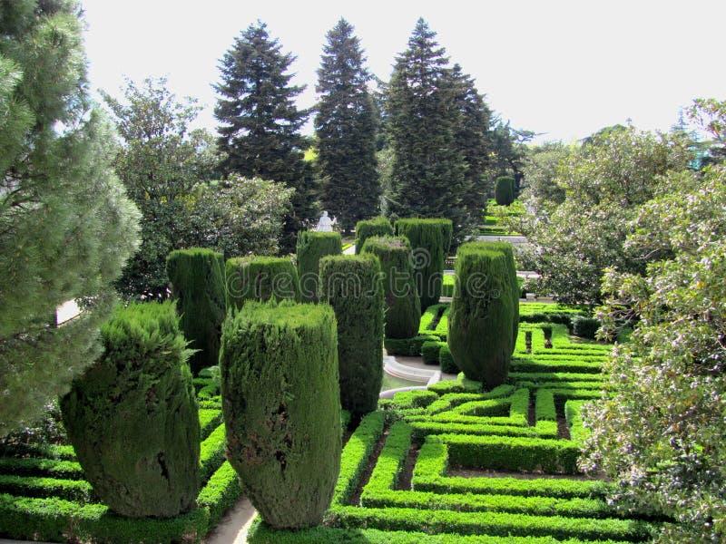 Άποψη του κήπου της Royal Palace της Μαδρίτης, Ισπανία στοκ φωτογραφίες με δικαίωμα ελεύθερης χρήσης