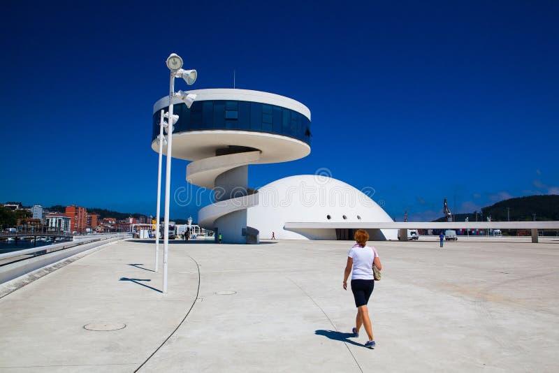 Άποψη του κεντρικού κτηρίου Niemeyer Aviles, Ισπανία στοκ φωτογραφίες