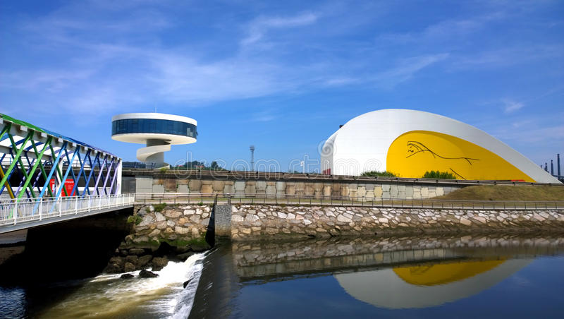 Άποψη του κεντρικού κτηρίου Niemeyer, Aviles, Ισπανία στοκ εικόνες με δικαίωμα ελεύθερης χρήσης