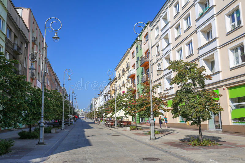 Άποψη του κεντρικού δρόμου στο Kielce/της Πολωνίας στοκ φωτογραφία