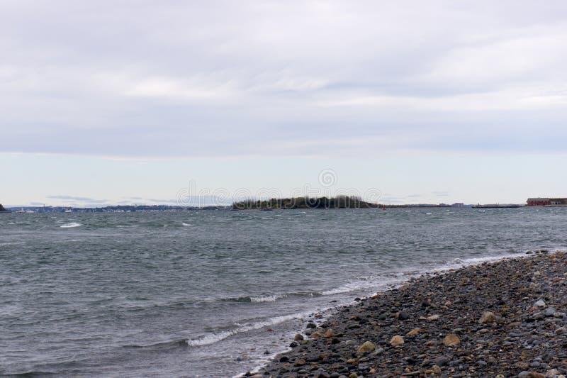 Άποψη του λιμανιού της Βοστώνης από το Hull στοκ εικόνα