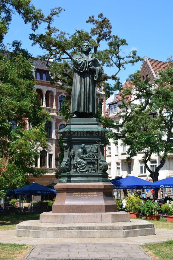 Άποψη του μνημείου στο Martin Luther στην ιστορική πόλη EISENACH, Thuringia, Γερμανία στοκ φωτογραφίες