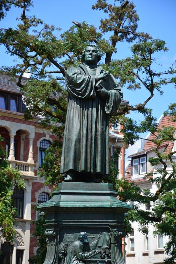 Άποψη του μνημείου στο Martin Luther στην ιστορική πόλη EISENACH, Thuringia, Γερμανία στοκ εικόνες με δικαίωμα ελεύθερης χρήσης