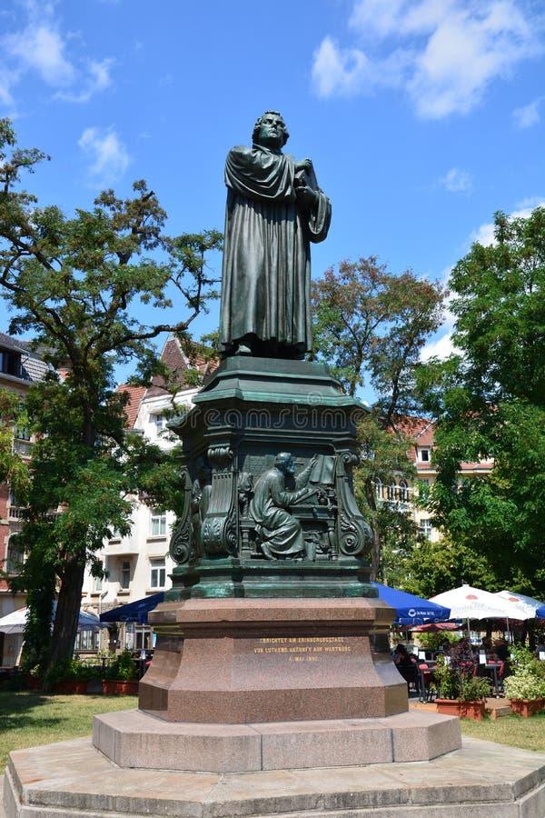 Άποψη του μνημείου στο Martin Luther στην ιστορική πόλη EISENACH, Thuringia, Γερμανία στοκ φωτογραφίες με δικαίωμα ελεύθερης χρήσης
