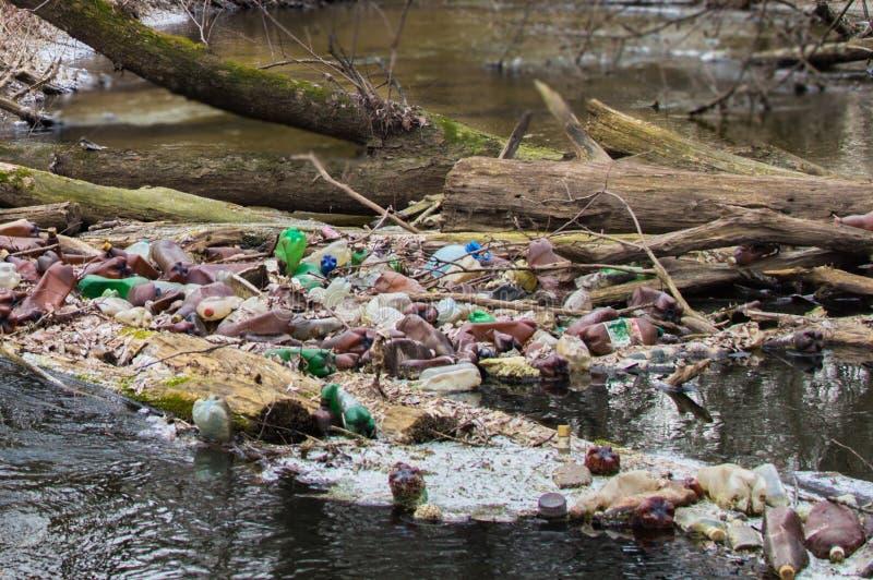 Άποψη του μολυσμένου μικρού δασικού ποταμού με πολλά διαφορετικά πλαστικά απορρίματα Πρόβλημα ρύπανσης περιβάλλοντος στοκ εικόνες