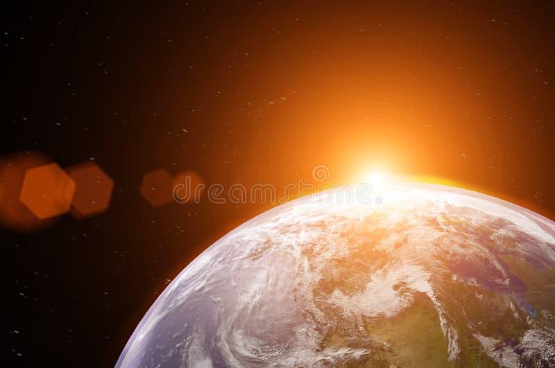 Άποψη του μπλε πλανήτη Γη στο διάστημα κατά τη διάρκεια της ανατολής, στοιχεία ελεύθερη απεικόνιση δικαιώματος