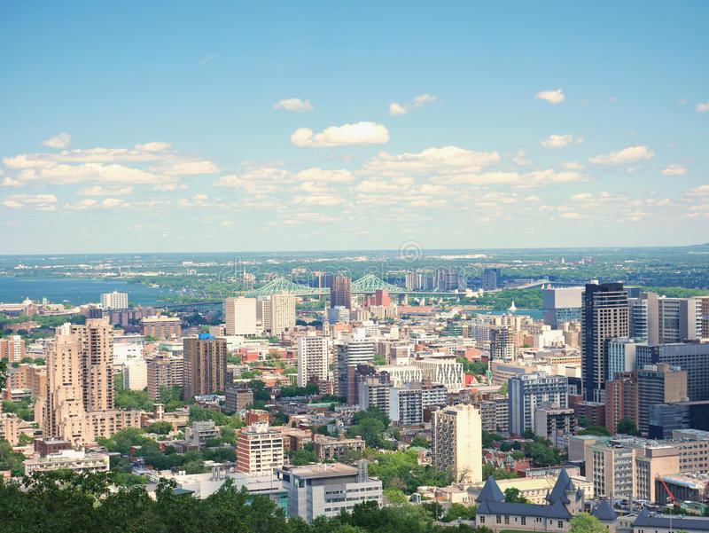 Άποψη του Μόντρεαλ από τον mont-βασιλικό, Κεμπέκ, Καναδάς στοκ εικόνες