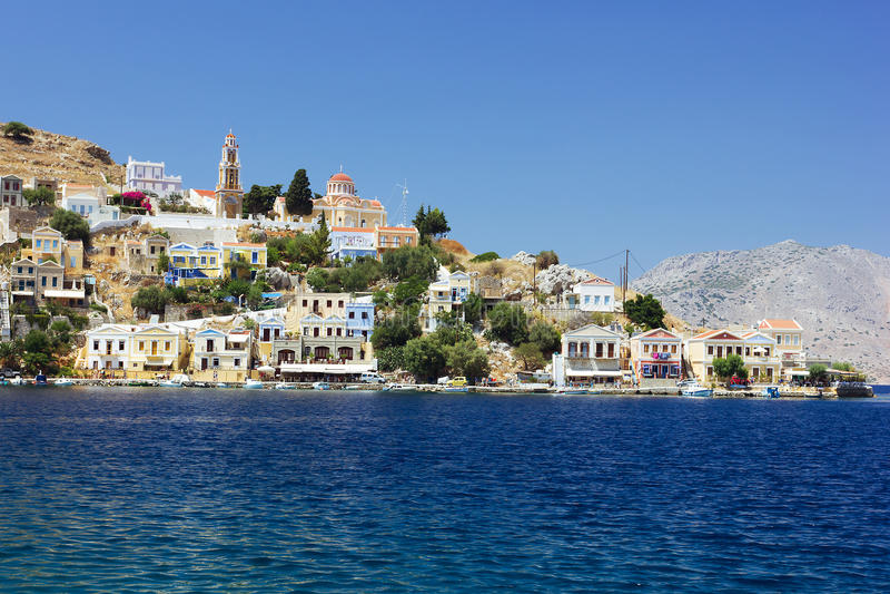 Άποψη του νησιού Symi στοκ φωτογραφία