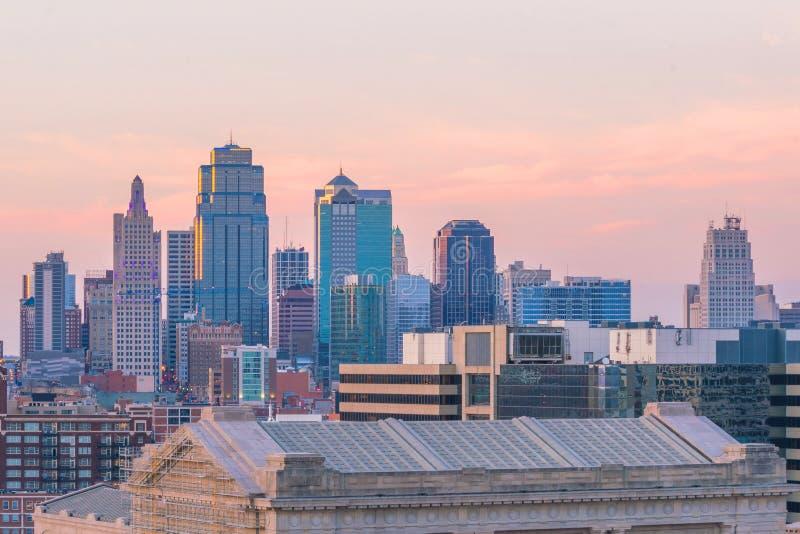 Άποψη του ορίζοντα πόλεων του Κάνσας στο Μισσούρι στοκ φωτογραφία