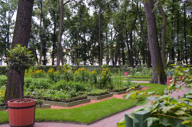 Άποψη του παλαιού city& x27 θερινός κήπος Letniy πάρκων του s λυπημένο, Άγιος Πετρούπολη Τοπίο της Νίκαιας με τα ψηλά δέντρα και  στοκ εικόνα