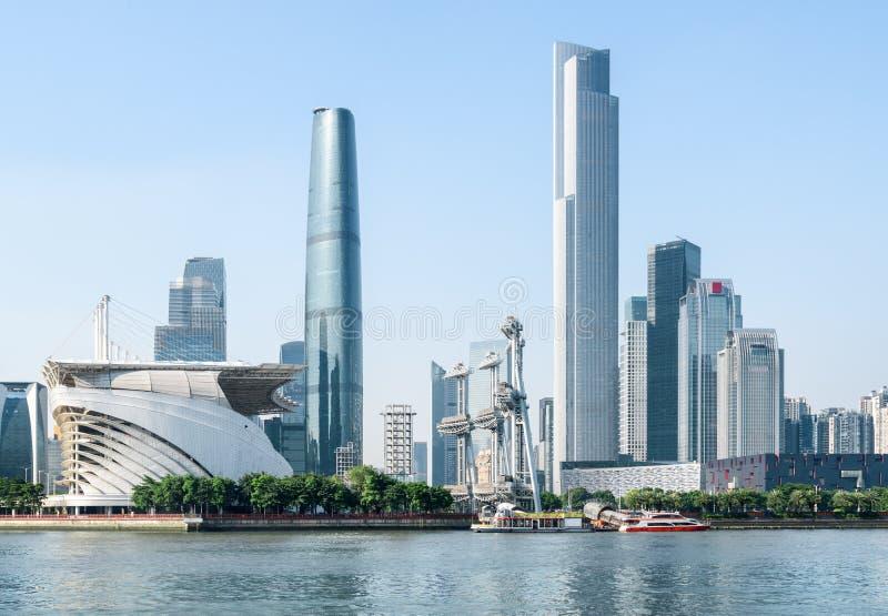 Άποψη του ποταμού και των ουρανοξυστών μαργαριταριών σε Guangzhou, Κίνα στοκ φωτογραφία με δικαίωμα ελεύθερης χρήσης