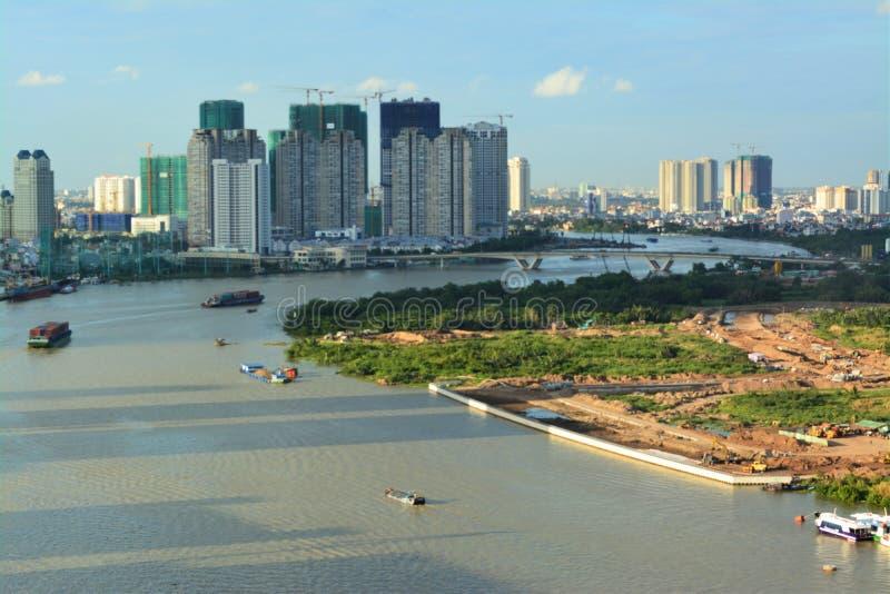 Άποψη του ποταμού Saigon άνωθεν στοκ φωτογραφίες με δικαίωμα ελεύθερης χρήσης