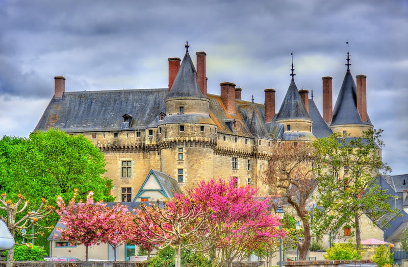 Άποψη του πύργου de Langeais, ένα κάστρο στην κοιλάδα της Loire, Γαλλία στοκ εικόνες