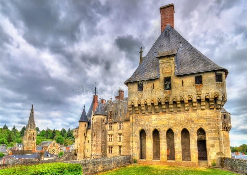 Άποψη του πύργου de Langeais, ένα κάστρο στην κοιλάδα της Loire, Γαλλία στοκ εικόνα