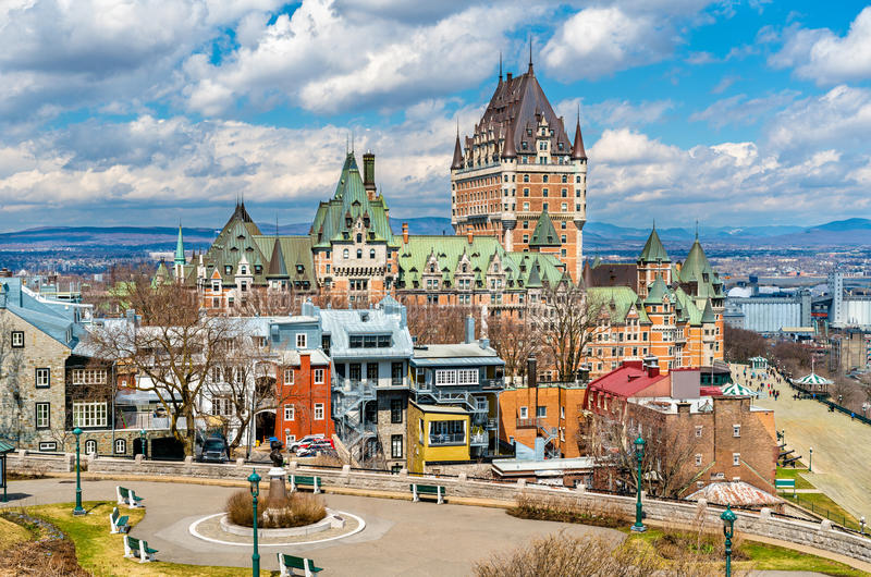 Άποψη του πύργου Frontenac στην πόλη του Κεμπέκ, Καναδάς στοκ φωτογραφίες με δικαίωμα ελεύθερης χρήσης