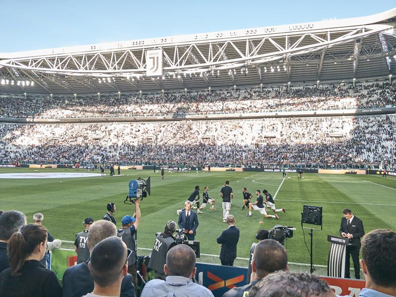 Άποψη του σταδίου Allianz, ο εγχώριος τομέας Juventus στοκ εικόνα με δικαίωμα ελεύθερης χρήσης