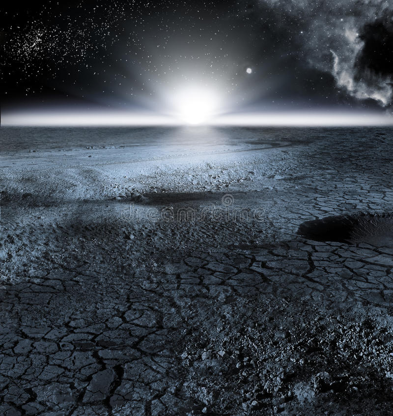 Άποψη του τοπίου φεγγαριών, ή σεληνιακό τοπίο στοκ φωτογραφία