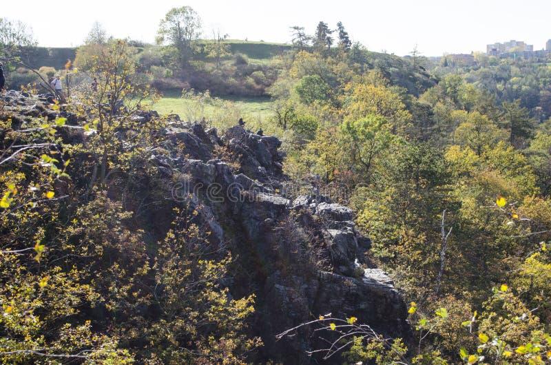 Άποψη του φυσικού πάρκου Divoka Sharka Divoká Šárka στα βορειοδυτικά της Πράγας Τσεχική Δημοκρατία στοκ εικόνες με δικαίωμα ελεύθερης χρήσης