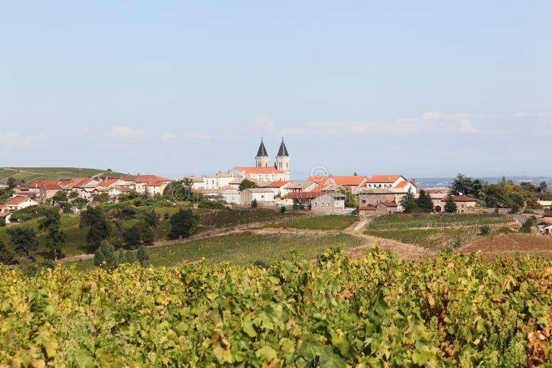 Άποψη του χωριού Regnie Durette Beaujolais στοκ εικόνες
