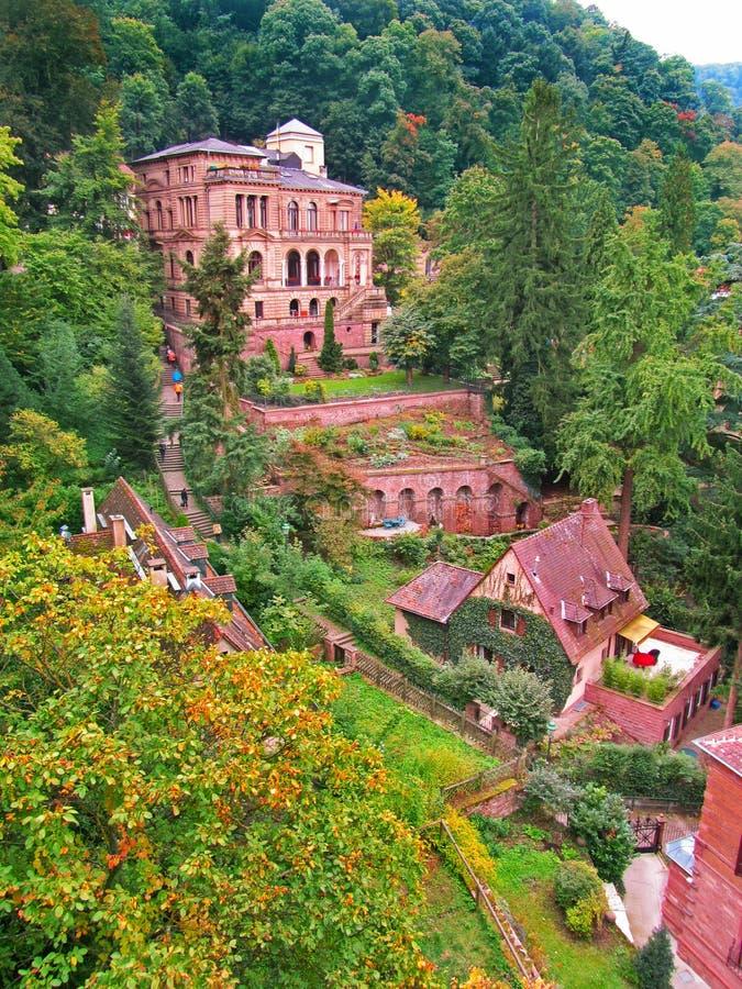 Άποψη του όμορφου κόκκινου κάστρου Χαϋδελβέργη στοκ εικόνες με δικαίωμα ελεύθερης χρήσης