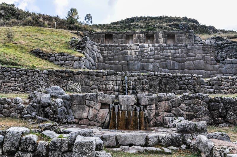 Άποψη των καταστροφών του Tambomachay σε Cusco, Περού στοκ εικόνα