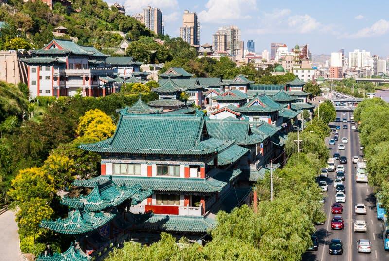 Άποψη των παραδοσιακών κτηρίων σε Lanzhou (Κίνα) στοκ εικόνες με δικαίωμα ελεύθερης χρήσης