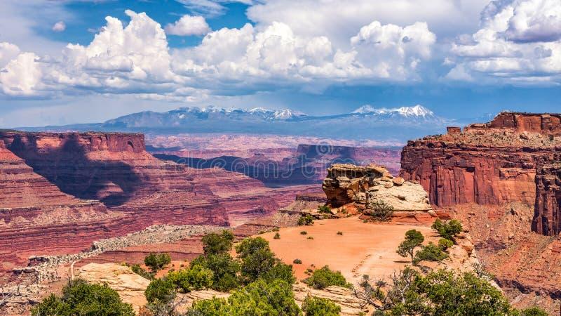 Άποψη φαραγγιών, καλοκαίρι φυσικό, εθνικό πάρκο Canyonlands στοκ εικόνα με δικαίωμα ελεύθερης χρήσης