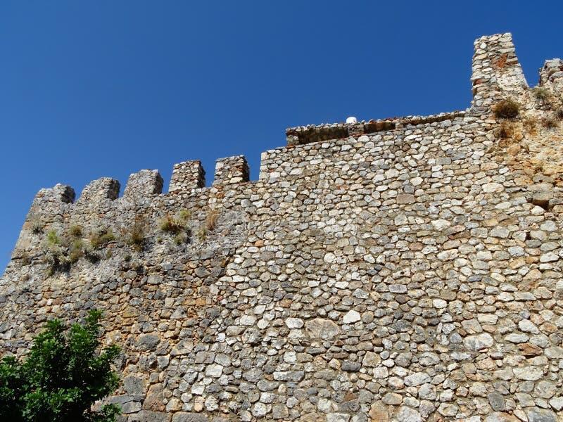 Άποψη φρουρίων και θάλασσας στην πόλη Alanya, Τουρκία στοκ εικόνες