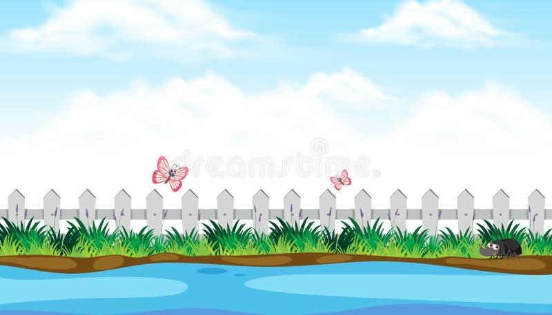 Άποψη όχθεων ποταμού με το χαριτωμένο έντομο διανυσματική απεικόνιση