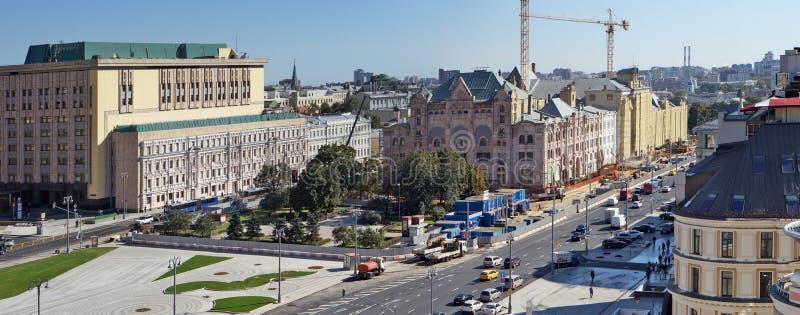 Άποψη Aireal των οδών της Μόσχας και sguare από τη στέγη του ρ στοκ εικόνες