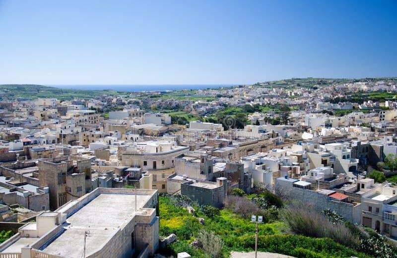 Άποψη Arial του πράσινου νησιού Gozo, πόλη Βικτώριας Rabat, Μάλτα στοκ φωτογραφίες
