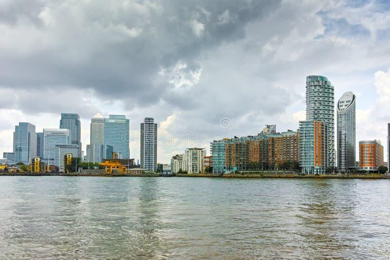 Άποψη Canary Wharf από το Γκρήνουιτς, Λονδίνο, Αγγλία, Μεγάλη Βρετανία στοκ φωτογραφία με δικαίωμα ελεύθερης χρήσης
