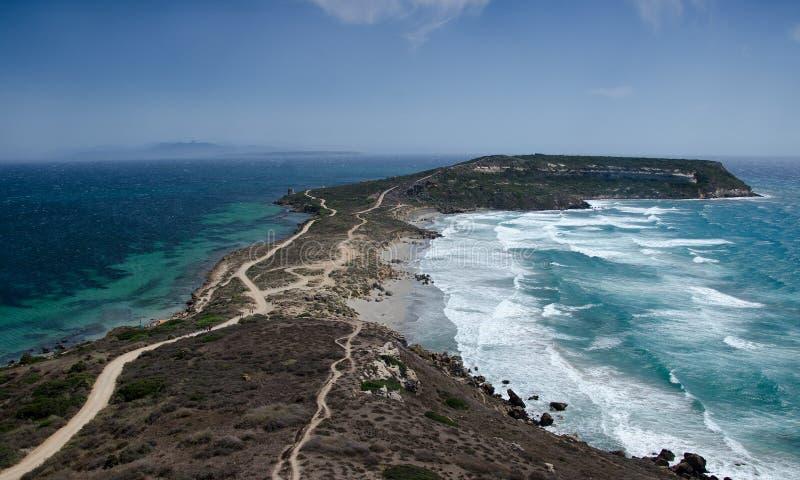 Άποψη Capo SAN Marco από Tharros, Σαρδηνία, Ιταλία στοκ εικόνα με δικαίωμα ελεύθερης χρήσης