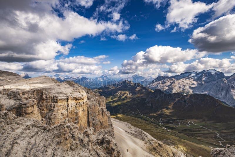 Άποψη marmolada σελών Pordoi στοκ φωτογραφία με δικαίωμα ελεύθερης χρήσης