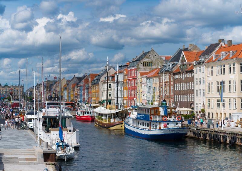 Άποψη Nyhavn στην Κοπεγχάγη, Δανία στοκ φωτογραφία με δικαίωμα ελεύθερης χρήσης