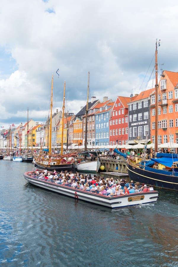Άποψη Nyhavn στην Κοπεγχάγη, Δανία στοκ φωτογραφίες με δικαίωμα ελεύθερης χρήσης